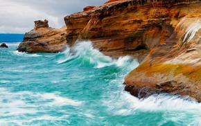 nature, birds, rocks, waves, sea