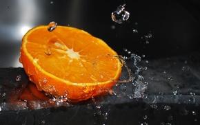 контраст, апельсин, макро, капли, природа, фрукт