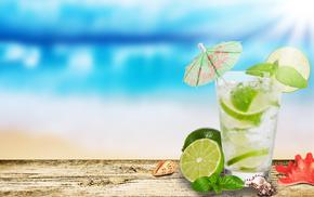 морская звезда, зонтик, вкусно, лайм, ракушки, стакан