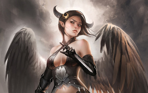 light, wings, fantasy, girl, horns