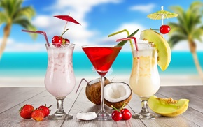 вкусно, strawberry, cocktails, coconut, glasses, Summer
