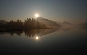 lake, reflection, hills, pier, berth