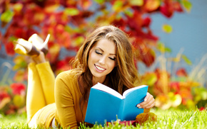 haired, book, grass, autumn, girl