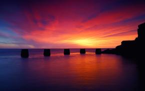 sea, clouds, sunset, sky, nature