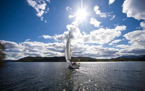 Sun, rest, yacht, lake, clouds