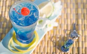 свежесть, вкусно, вишня, лёд, лето, голубой