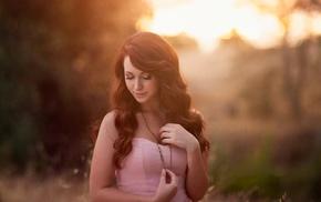 sunlight, necklace, brunette, girl