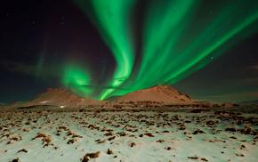 горы, небо, ночь, Северное сияние, природа
