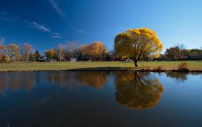 sky, river, reflection, autumn, tree