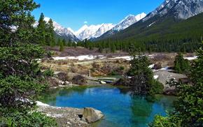 snow, landscape, spring, mountain, lake