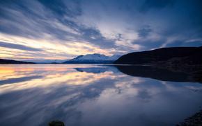 reflection, evening, nature, mountain, sky