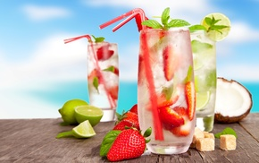 кокос, лед, лимоны, клубника, напитки, сахар