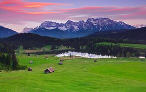 nature, Germany, Alps, forest, houses