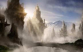 mountain, rocks, bridge, city, fantasy