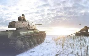 tank, snow, gun, render
