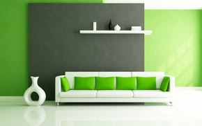 couch, white, design, green, pillows