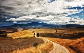 тоскана, холмы, синее, тропинка, природа, поле