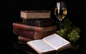 grapes, reflection, books, delicious, wineglass