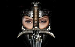 sword, video games, helmet, girl