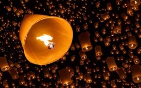 красивые, Ночь, небесные фонарики, огонь, небо, много