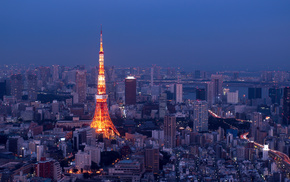panorama, night, lights, cities, Tokyo
