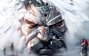 dragon, art, rock, face, fantasy