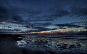красивые, закат, побережье, облака, берег, красота