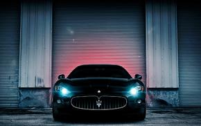 cars, auto, headlights, wall, view