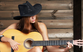 hat, guitar, girl, music