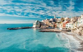 sea, ocean, Italy, houses, water