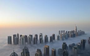 height, cities, mist, skyscrapers, Dubai