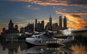 aircraft, city, water