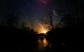 stars, planets, night, stunner, sky