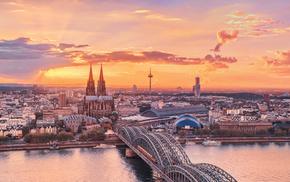 bridge, river, city, Germany, sky