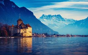 mountain, Switzerland, nature, city