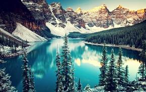 mountains, озеро, nature, пейзаж, snow, lakes
