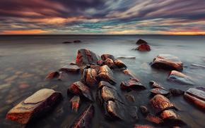 stones, sea, sunset, nature, evening
