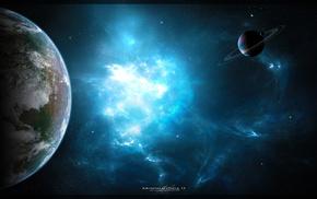 nebula, space, art, planets