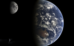 space, moon, Earth