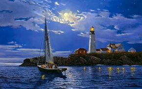 lighthouse, yacht, landscape, art, nature