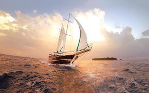 sky, clouds, yacht, ocean, island