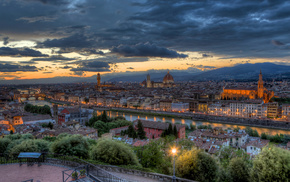 evening, Italy, sunset, panorama, cities