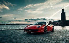 Ferrari, embankment, cars, river