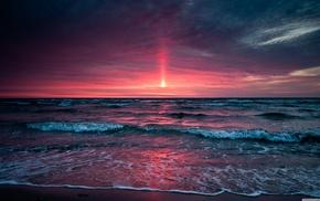 природа, океан, волны, пляж, закат, море