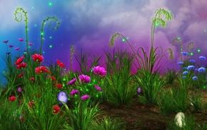 rendering, grass, пасхальные яйца, цветы, Flowers, sparkes