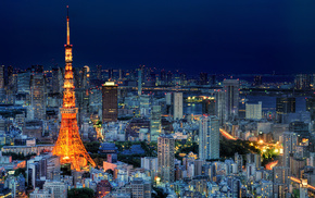 skyscrapers, lighting, Japan, tower, sky