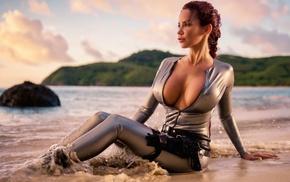 девушки, sexi lara croft, Bianca beauchamp, закат, пляж