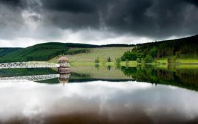 nature, lodge, sky, bridge, forest