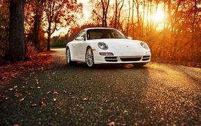 Porsche, cars, white, autumn
