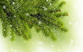 tree, fir-tree, branch, greenery, snowflakes